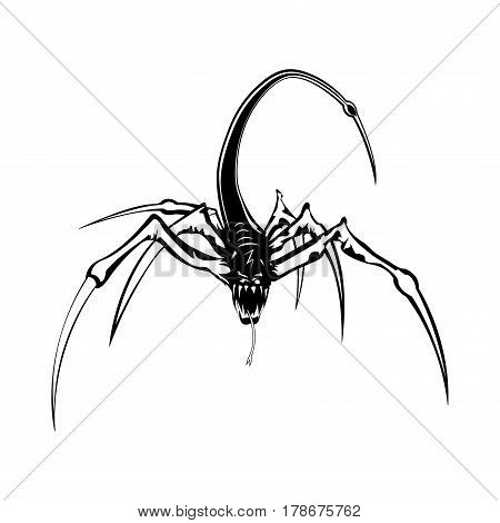 A terrible mutant. The beast is a predator. Vector illustration