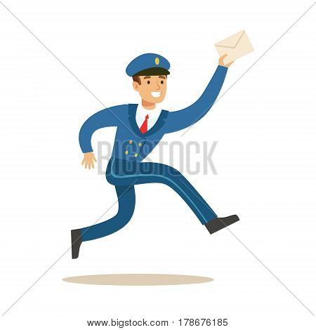 Postman In Blue Uniform Running Delivering Mail, Fulfilling Mailman Duties With A Smile. Guy In Post Courier Job Happy With His Profession Vector Cartoon Illustration.
