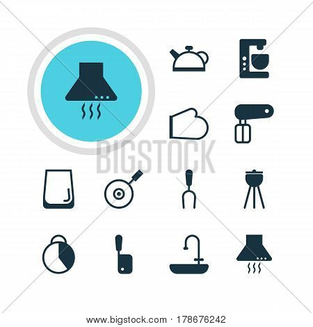 Vector Illustration Of 12 Kitchenware Icons. Editable Pack Of Teakettle, Barbecue, Oven Mitts And Other Elements.