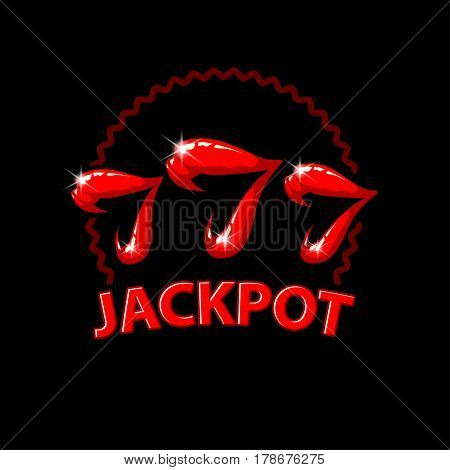 Triple seven jackpot illustration. Women's lips and 777 winnings in the casino. Slot machine illustration on a black background