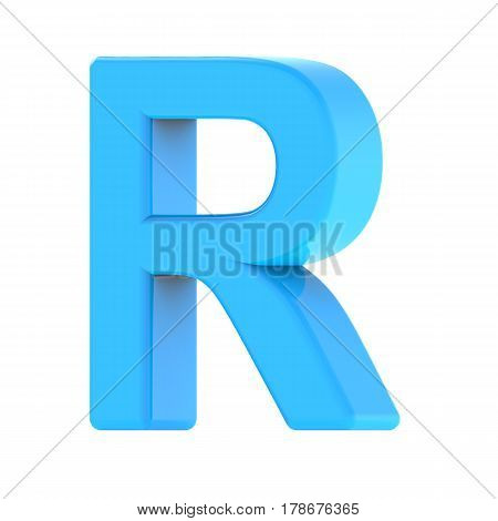 3d right leaning light blue letter R 3D rendering graphic isolated white background