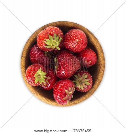 bowl with strawberries isolated on white background. Ripe strawberries close-up. Background berry. Sweet and juicy berry with copy space for text. Top view.