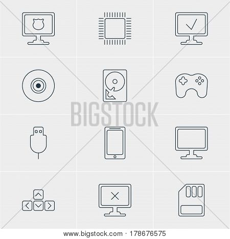 Vector Illustration Of 12 Laptop Icons. Editable Pack Of Hard Drive Disk, Antivirus, Keypad And Other Elements.