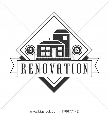 Repair and Renovation Service Black And White Sign Design Template With Text With House Silhouettes In Square Frame. Monochrome Vector Emblem, Label For Repairing Company Advertisement.