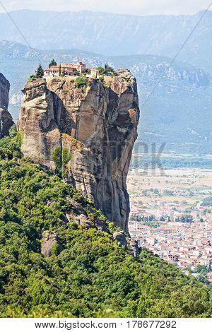 View of Holy Trinity Monastery (Agia Triada). Meteora monasteries Greece.