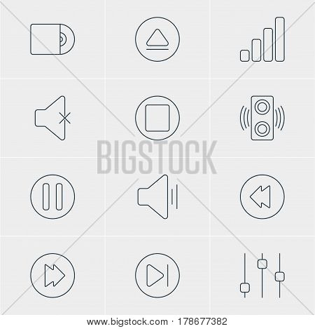 Vector Illustration Of 12 Melody Icons. Editable Pack Of Subsequent, Pause, Reversing And Other Elements.