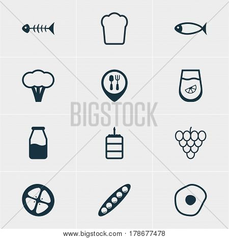 Vector Illustration Of 12 Cuisine Icons. Editable Pack Of Restaurant, Seafood, Love Apple And Other Elements.