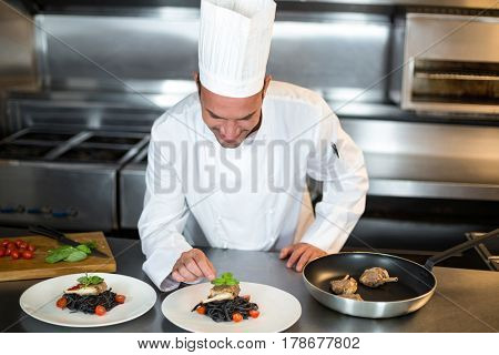 Handsome chef putting finishing touch in a commercial kitchen