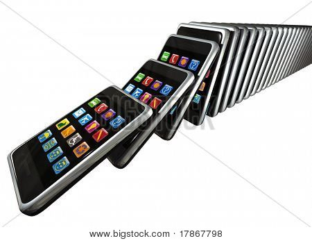 Digitally generated touch screen phones in cue