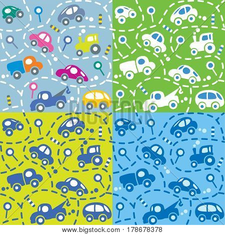 Seamless vector background of small funny vector cars and signs with dashed lines like road, for packin paper, diaper or wallpaper in children room. Coloful cute kids pattern
