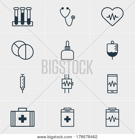 Vector Illustration Of 12 Medical Icons. Editable Pack Of Vaccinator, Round Tablet, Experiment Flask And Other Elements.