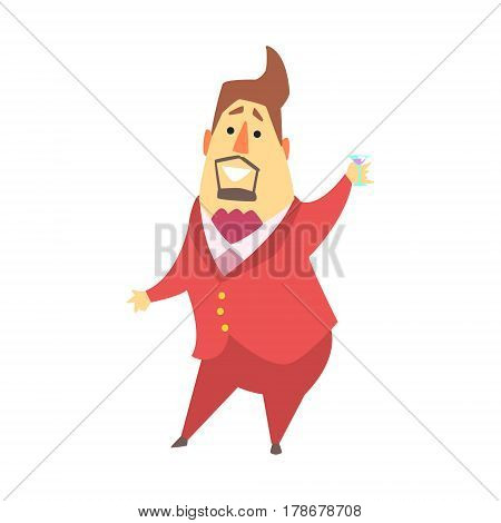Millionaire Rich Man At The Party Drinking Martini, Funny Cartoon Character Lifestyle Situation. Multimillionaire Businessman With Goatee In Red Suit Activity Vector Illustration.