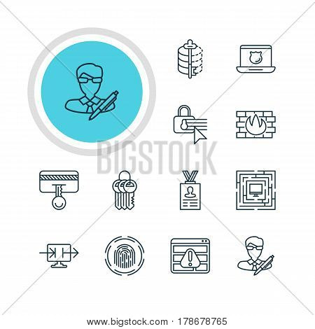 Vector Illustration Of 12 Data Icons. Editable Pack Of Copyright, Safety Key, Confidentiality Options And Other Elements.