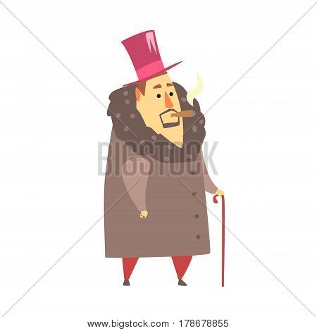 Millionaire Rich Man In Coat And Top Hat Smoking Cigar , Funny Cartoon Character Lifestyle Situation. Multimillionaire Businessman With Goatee In Red Suit Activity Vector Illustration.