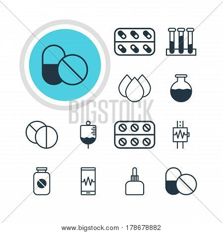 Vector Illustration Of 12 Medical Icons. Editable Pack Of Round Tablet, Antibody, Heartbeat And Other Elements.