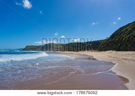 Beautiful Ocean Coastline With Garie Beach And Green Hills. Australia