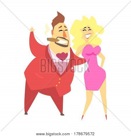 Millionaire Rich Man Walking Holding Around A Waist A Pretty Blond Sexy Woman, Funny Cartoon Character Lifestyle Situation. Multimillionaire Businessman With Goatee In Red Suit Activity Vector Illustration.