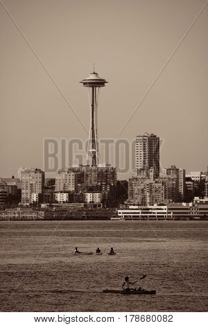 SEATTLE, WA - AUG 14: Space Needle with canoe on August 14, 2015 in Seattle. Seattle is the largest city in both the State of Washington and the Pacific Northwest region of North America