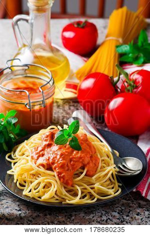 Spaghettini with Rosy-red Sauce. . selective focus