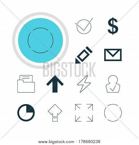 Vector Illustration Of 12 Interface Icons. Editable Pack Of Money Making, Top, Wide Monitor And Other Elements.