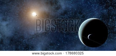 Milky way stars and planets. 3D render / illustration.