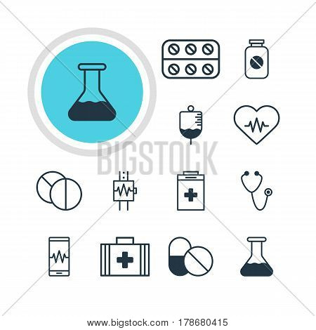 Vector Illustration Of 12 Health Icons. Editable Pack Of Flask, Exigency, Phone Monitor And Other Elements.