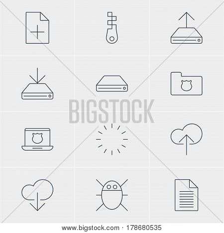 Vector Illustration Of 12 Network Icons. Editable Pack Of Hdd Sync, Note, Data Upload And Other Elements.