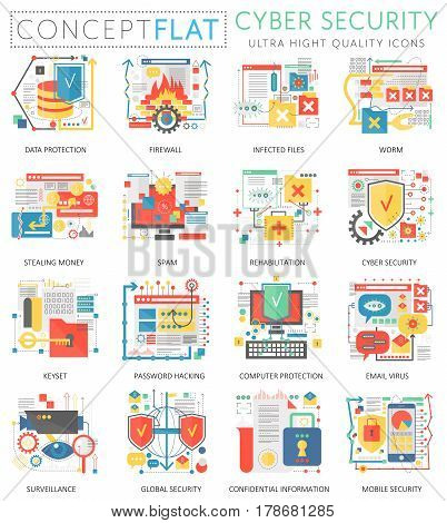 Infographics mini concept Online communication security, computer protection icons for web. Premium quality color conceptual flat icons elements. Cuber security concepts