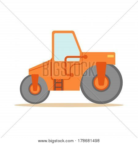 Asphalt Finisher Road Machine , Part Of Roadworks And Construction Site Series Of Vector Illustrations. Flat Cartoon Drawings With Professional City Streets Maintenance Scenes .