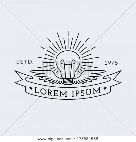 Template for logo, label and emblem in outline style with lightbulb wings and ribbon. Vector illustration.