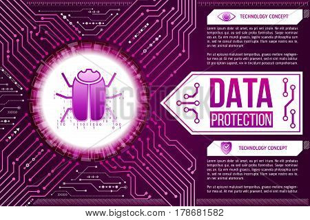 Digital technology concept of background with a hacker bug. Circuit board background. Hi-tech electronic wires. Abstract information security. Modern safety digital background.