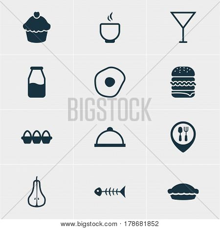 Vector Illustration Of 12 Cuisine Icons. Editable Pack Of Egg Container, Scrambled Egg, Skeleton And Other Elements.
