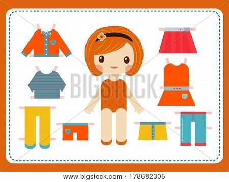 Cute female paper doll with the variety of bright colorful clothes vector illustration