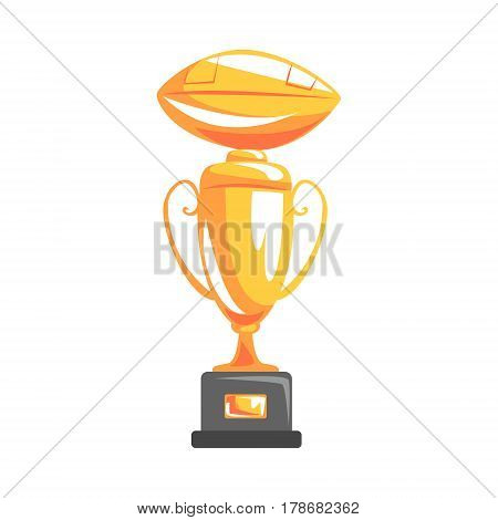 Golden Cup For Championship Winner, Part Of American Football Related Isolated Objects Series Of Sportive Illustrations. Rugby Sport Element Or Inventory Flat Vector Icon.