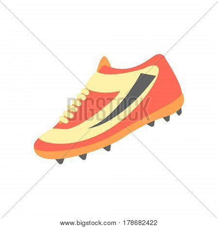 One Training Shoe, Part Of American Football Related Isolated Objects Series Of Sportive Illustrations. Rugby Sport Element Or Inventory Flat Vector Icon.