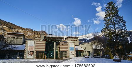 Pejo Fonti, Italy - March 7, 2017:thermes In The Center Of The V