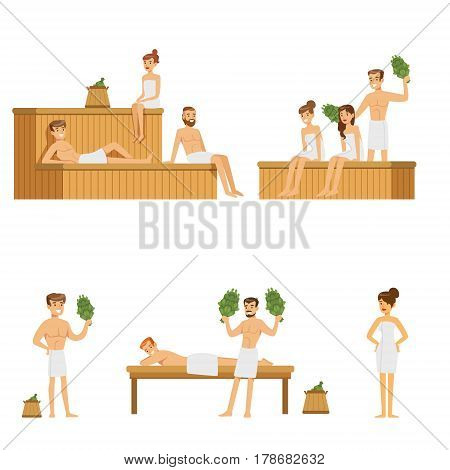 Sauna And Steam House Loving People Enjoying Hot Steam Procedures With Russian Birch Twigs. Smiling Cartoon Characters In Heated Room Sitting On Wooden Benches, Russian Washing Habits Set Of Illustrations.