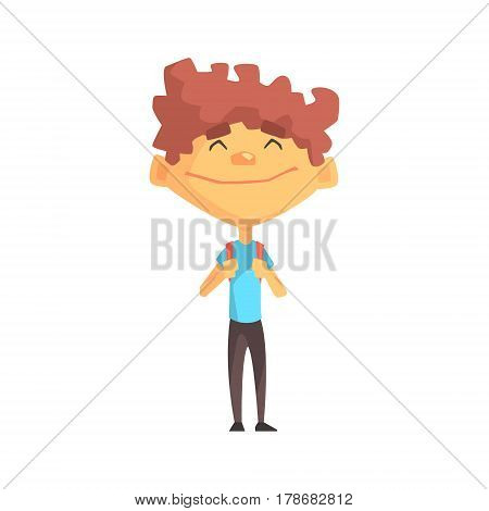 Curly Boy In Blue T-shirt Smiling, Primary School Kid, Elementary Class Member, Isolated Young Student Character. Elementary School Scholar On School Trip Flat Cartoon Illustration With Child.