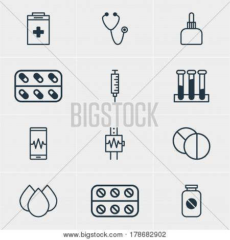 Vector Illustration Of 12 Health Icons. Editable Pack Of Pulse, Trickle, Vaccinator And Other Elements.