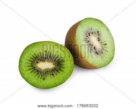 Kiwi half isolated on white background. Closeup image of sweet exotic tropical kiwifruit core cut, healthy natural organic food