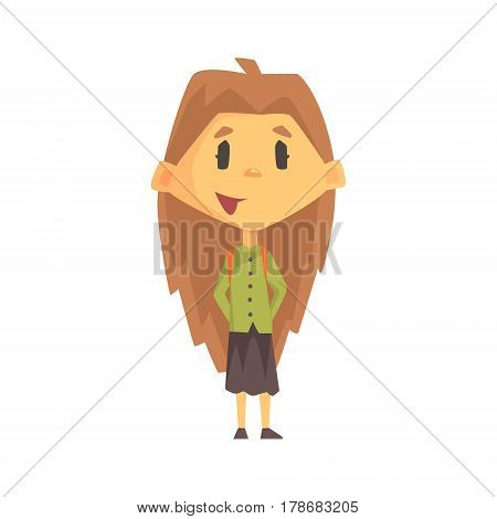 Girl With Long Brown Hair Smiling, Primary School Kid, Elementary Class Member, Isolated Young Student Character. Elementary School Scholar On School Trip Flat Cartoon Illustration With Child.