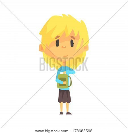 Girl With Short Blond Hair And Backpack, Primary School Kid, Elementary Class Member, Isolated Young Student Character. Elementary School Scholar On School Trip Flat Cartoon Illustration With Child.