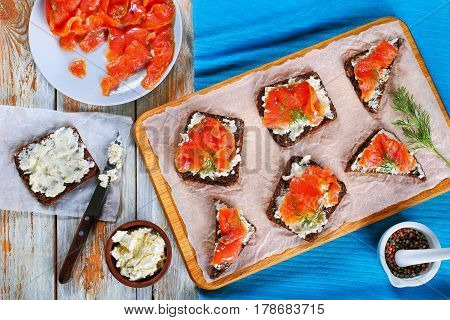 Toasts With Cream Cheese And Red Fish