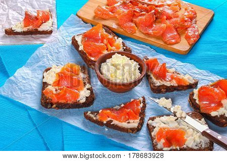 Rye Bread Toasts With Cream Cheese And Salmon