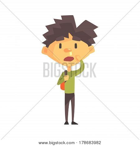 Boy In Green Sweater With Running Nose, Primary School Kid, Elementary Class Member, Isolated Young Student Character. Elementary School Scholar On School Trip Flat Cartoon Illustration With Child.