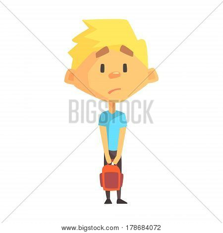 Sad Blond Boy, Primary School Kid, Elementary Class Member, Isolated Young Student Character. Elementary School Scholar On School Trip Flat Cartoon Illustration With Child.