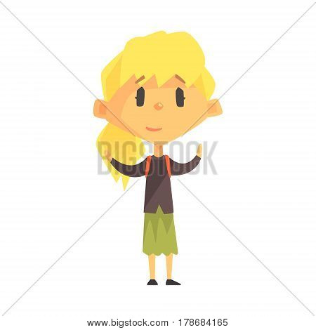 Calm Blond Girl With Ponytail, Primary School Kid, Elementary Class Member, Isolated Young Student Character. Elementary School Scholar On School Trip Flat Cartoon Illustration With Child.