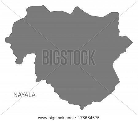 Nayala Burkina Faso Province Map Grey Illustration Silhouette