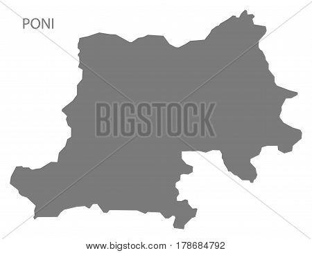 Poni Burkina Faso Province Map Grey Illustration Silhouette