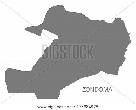 Zondoma Burkina Faso Province Map Grey Illustration Silhouette